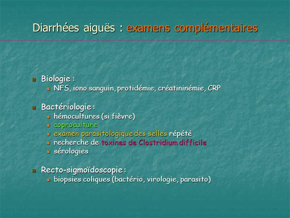 Diarrhées aiguës : examens complémentaires