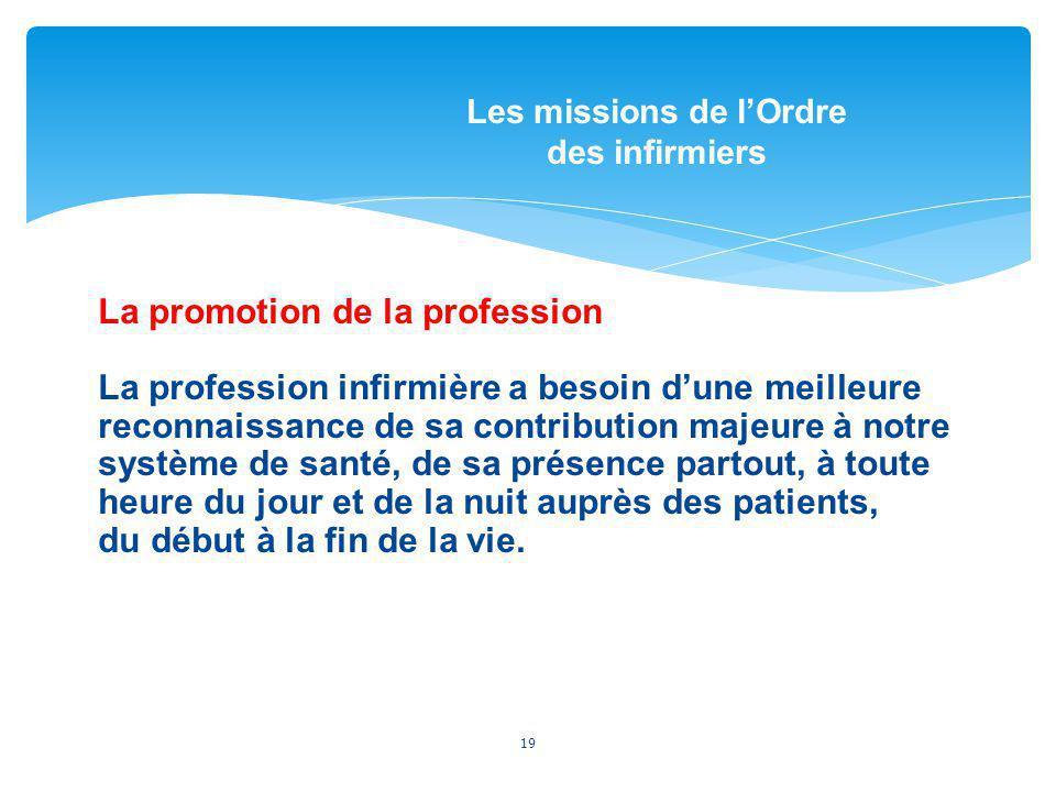Les missions de l'Ordre des infirmiers