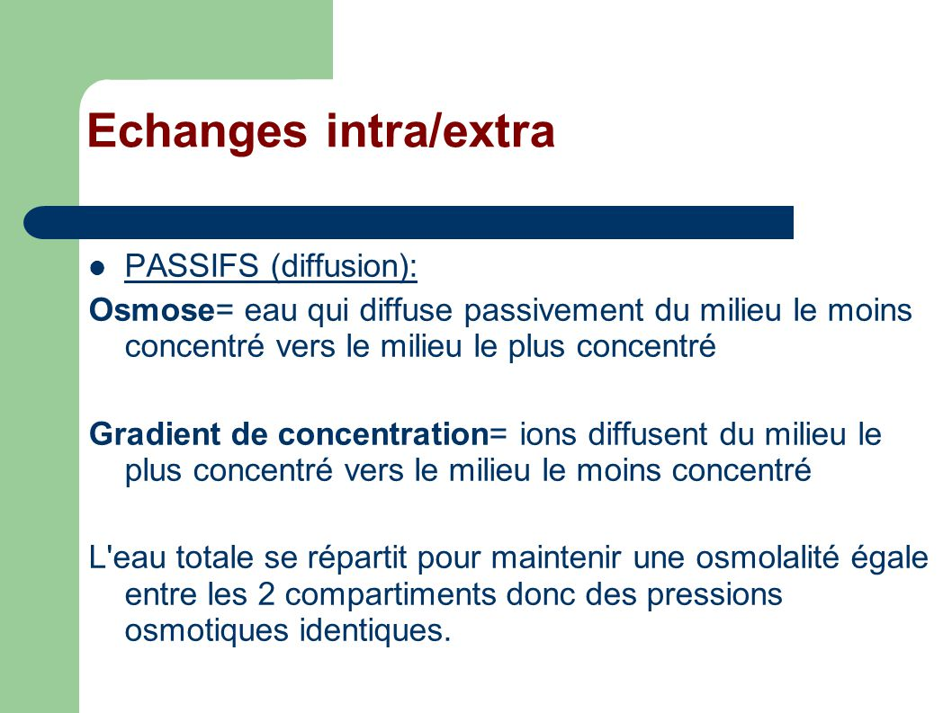 Echanges intra/extra PASSIFS (diffusion):