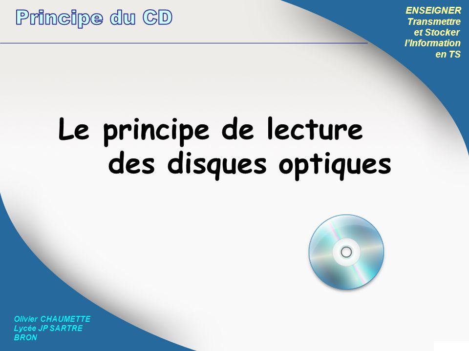 Le principe de lecture des disques optiques Principe du CD ENSEIGNER
