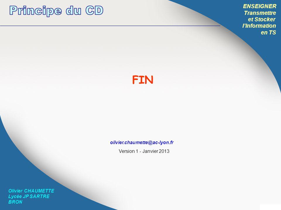 Principe du CD FIN ENSEIGNER Transmettre et Stocker l'Information