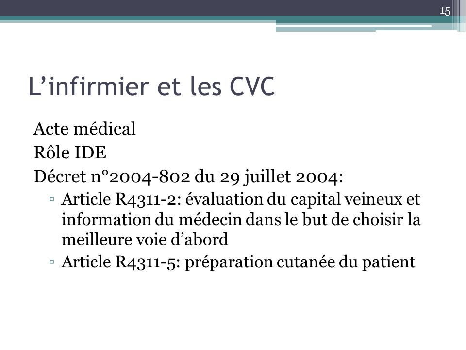 L'infirmier et les CVC Acte médical Rôle IDE