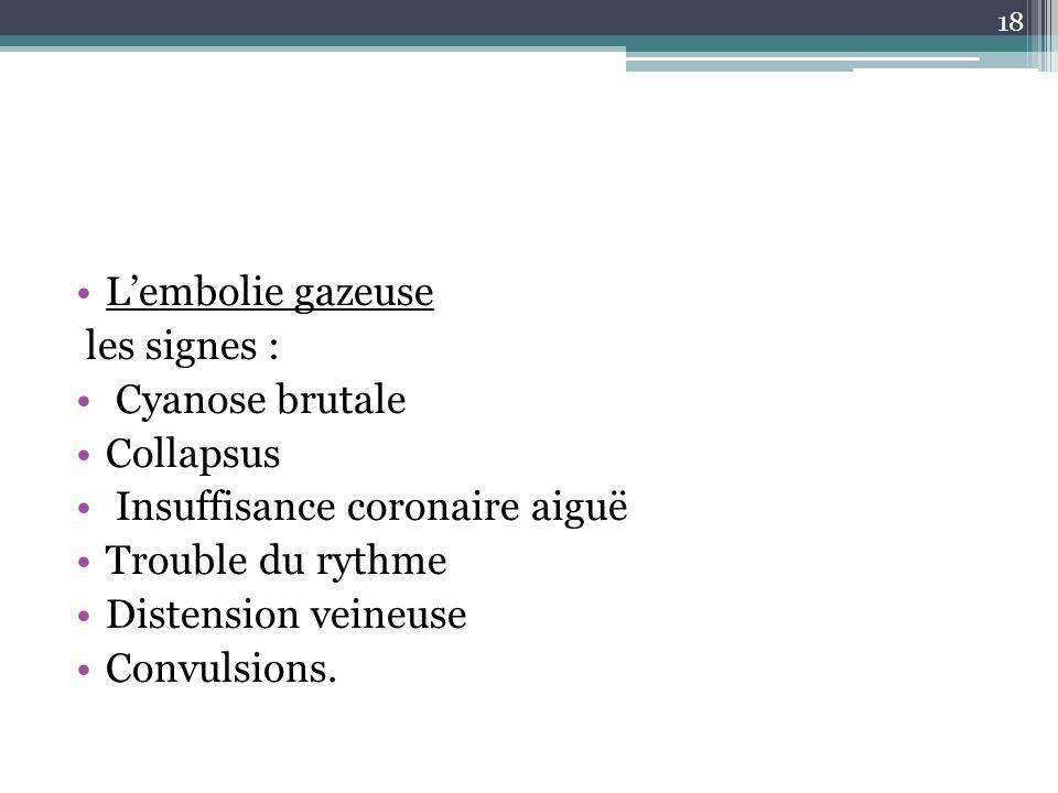 L'embolie gazeuse les signes : Cyanose brutale. Collapsus. Insuffisance coronaire aiguë. Trouble du rythme.