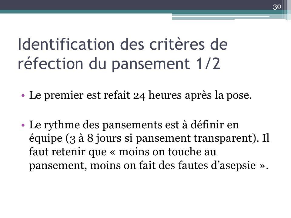 Identification des critères de réfection du pansement 1/2