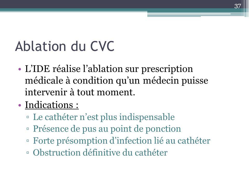 Ablation du CVC L'IDE réalise l'ablation sur prescription médicale à condition qu'un médecin puisse intervenir à tout moment.
