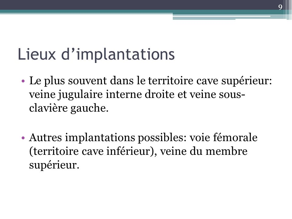 Lieux d'implantations