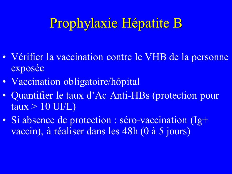 Prophylaxie Hépatite B