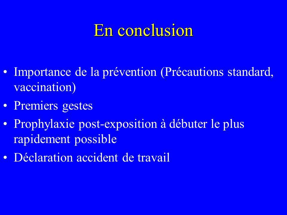 En conclusion Importance de la prévention (Précautions standard, vaccination) Premiers gestes.