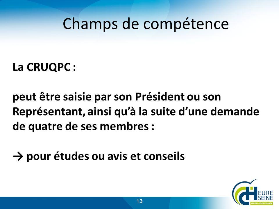 Champs de compétence La CRUQPC :