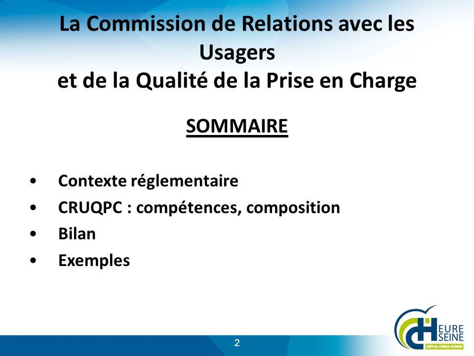 La Commission de Relations avec les Usagers et de la Qualité de la Prise en Charge