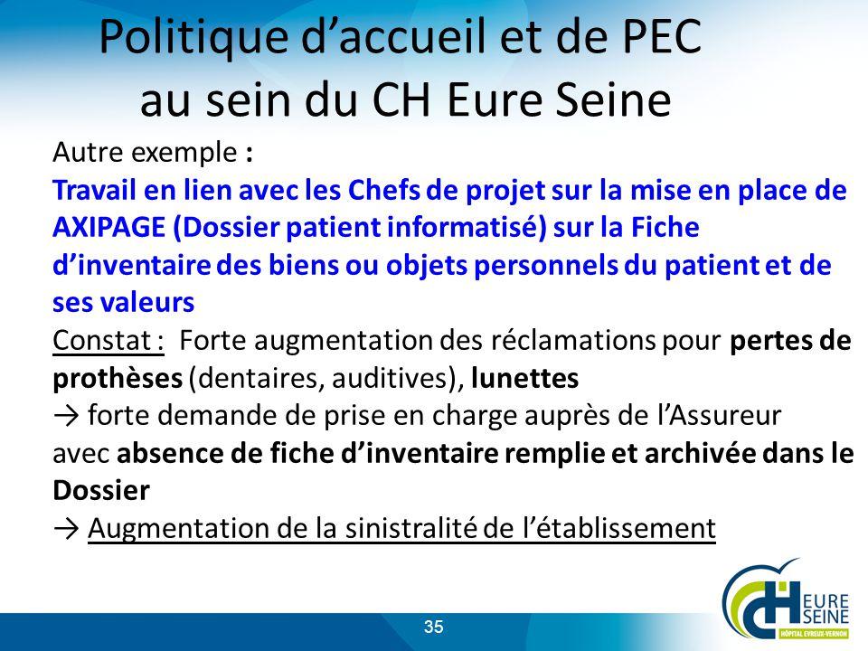 Politique d'accueil et de PEC au sein du CH Eure Seine