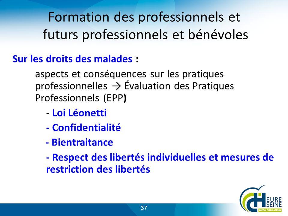Formation des professionnels et futurs professionnels et bénévoles