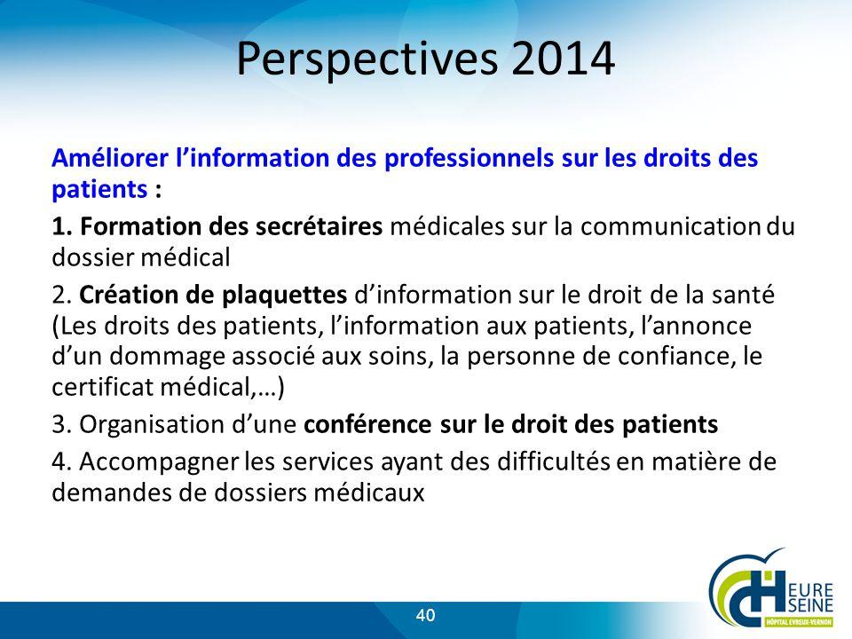 Perspectives 2014 Améliorer l'information des professionnels sur les droits des patients :