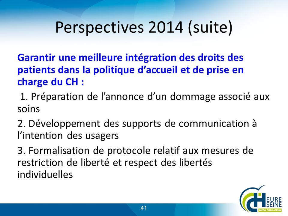 Perspectives 2014 (suite) Garantir une meilleure intégration des droits des patients dans la politique d'accueil et de prise en charge du CH :