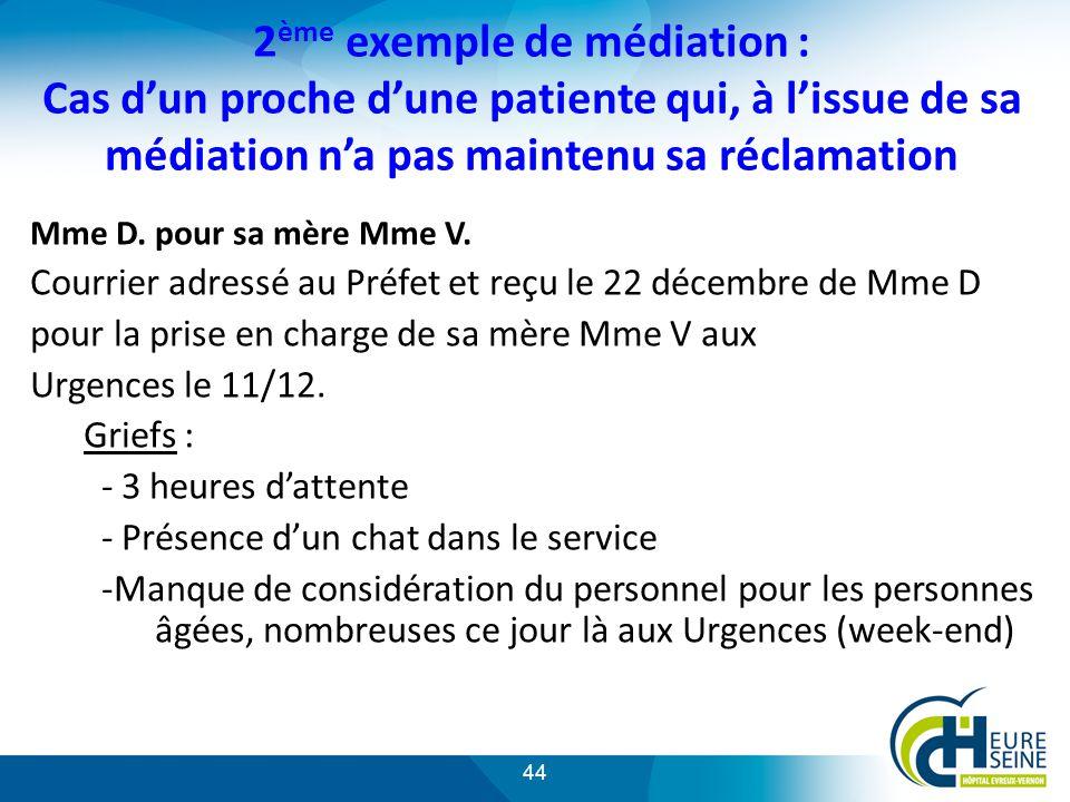 2ème exemple de médiation : Cas d'un proche d'une patiente qui, à l'issue de sa médiation n'a pas maintenu sa réclamation