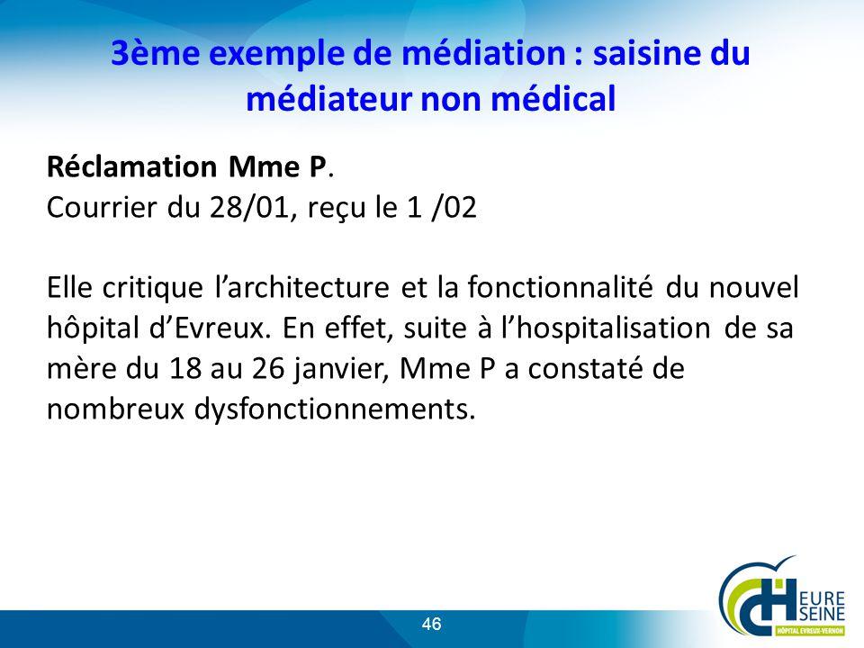 3ème exemple de médiation : saisine du médiateur non médical