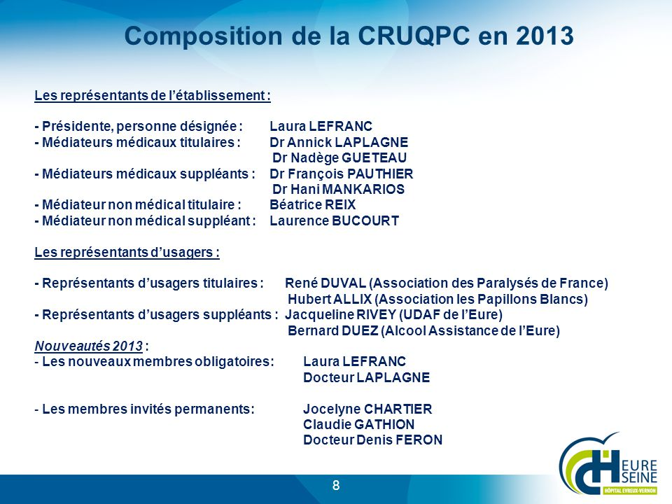 Composition de la CRUQPC en 2013