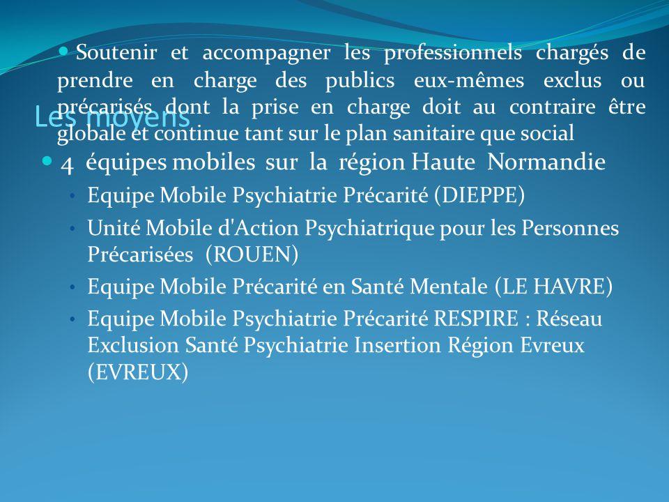 Les moyens 4 équipes mobiles sur la région Haute Normandie