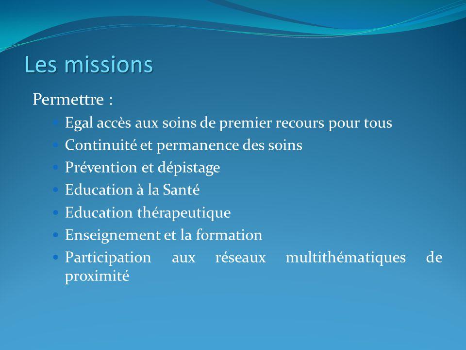Les missions Permettre :