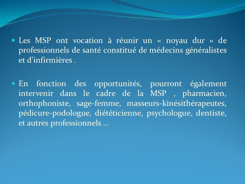 Les MSP ont vocation à réunir un « noyau dur » de professionnels de santé constitué de médecins généralistes et d'infirmières .