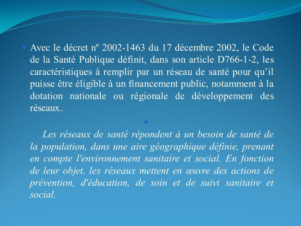 Avec le décret nº 2002-1463 du 17 décembre 2002, le Code de la Santé Publique définit, dans son article D766-1-2, les caractéristiques à remplir par un réseau de santé pour qu'il puisse être éligible à un financement public, notamment à la dotation nationale ou régionale de développement des réseaux..