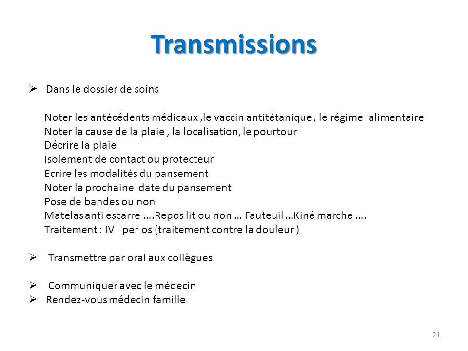 Transmissions Dans le dossier de soins