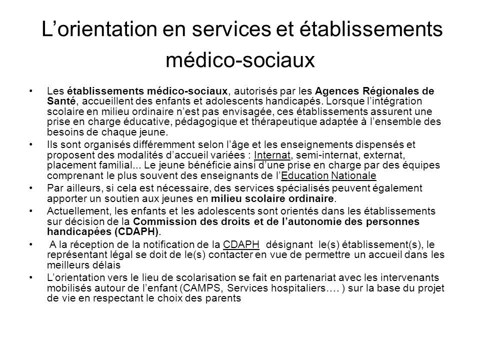 L'orientation en services et établissements médico-sociaux