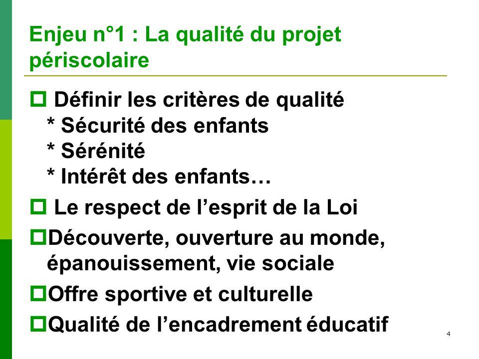 Enjeu n°1 : La qualité du projet périscolaire