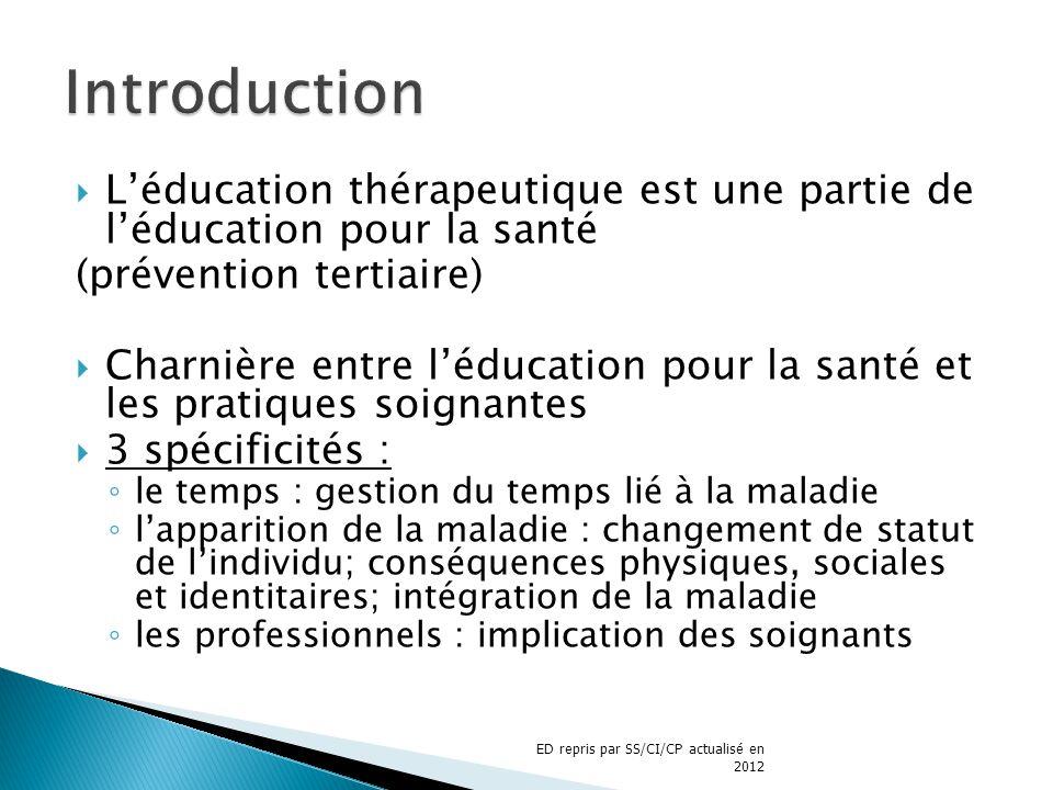 Introduction L'éducation thérapeutique est une partie de l'éducation pour la santé. (prévention tertiaire)