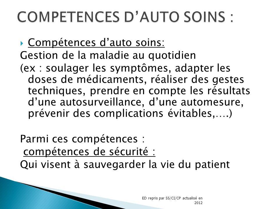 COMPETENCES D'AUTO SOINS :