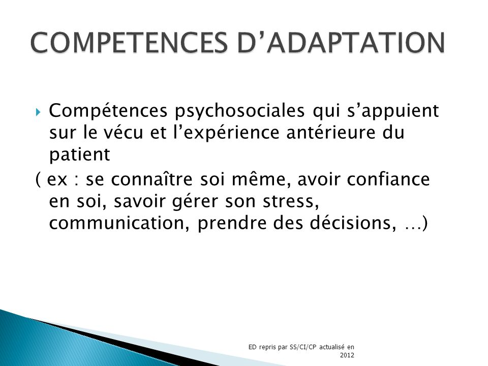 COMPETENCES D'ADAPTATION
