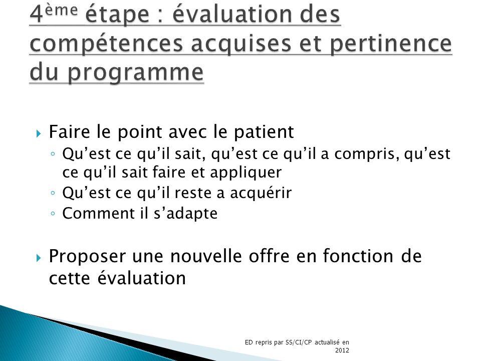 4ème étape : évaluation des compétences acquises et pertinence du programme