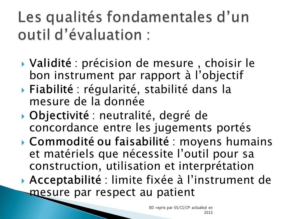 Les qualités fondamentales d'un outil d'évaluation :