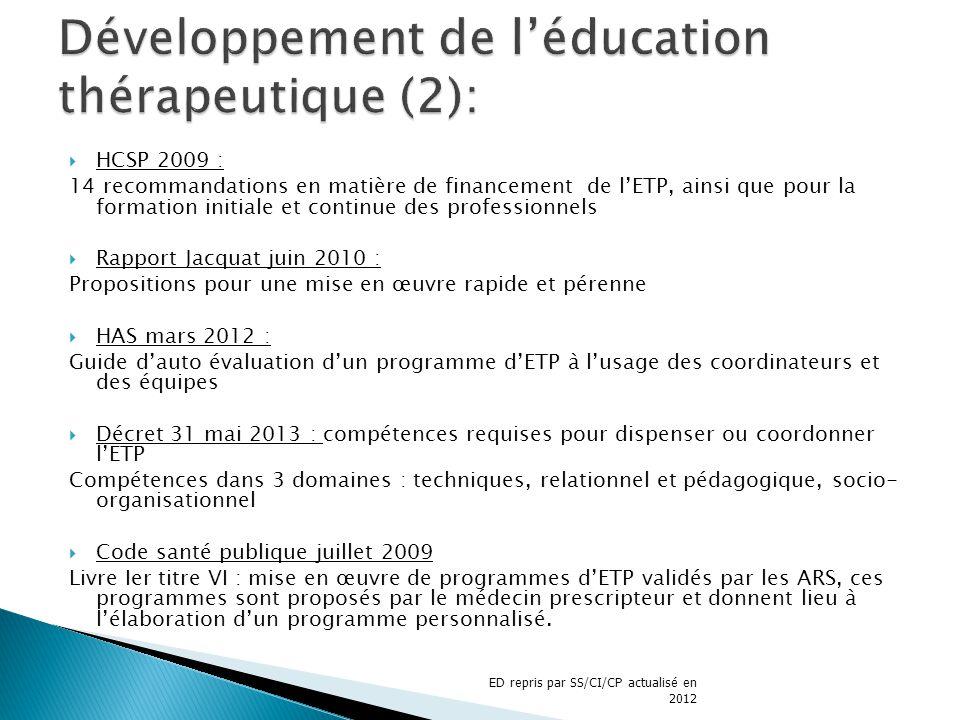 Développement de l'éducation thérapeutique (2):