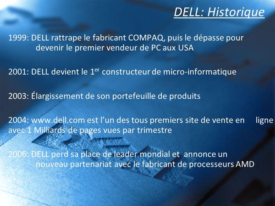 DELL: Historique 1999: DELL rattrape le fabricant COMPAQ, puis le dépasse pour devenir le premier vendeur de PC aux USA.