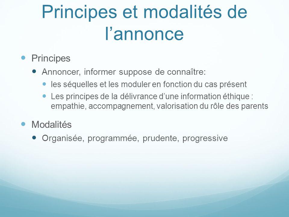 Principes et modalités de l'annonce