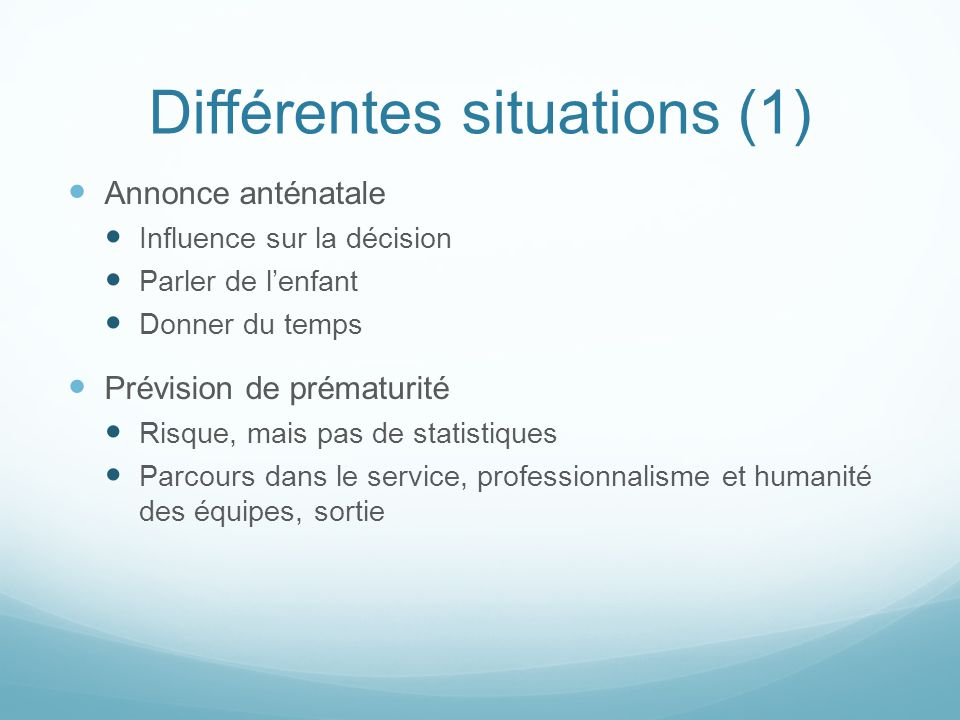 Différentes situations (1)
