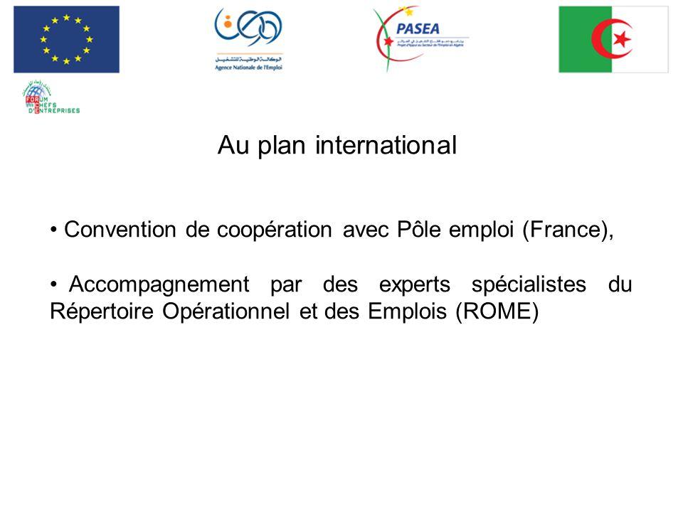 Au plan international Convention de coopération avec Pôle emploi (France),