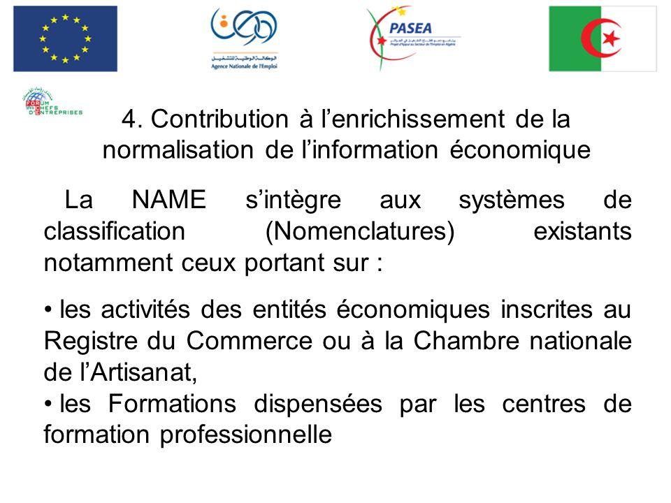 4. Contribution à l'enrichissement de la normalisation de l'information économique