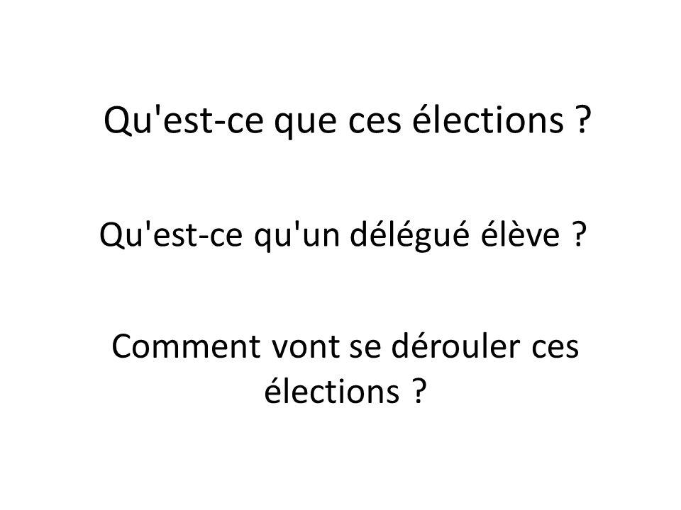 Qu est-ce que ces élections