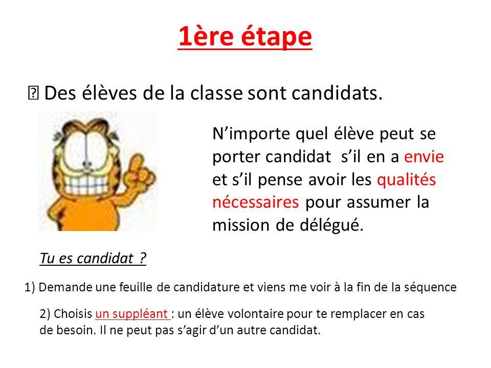 1ère étape  Des élèves de la classe sont candidats.