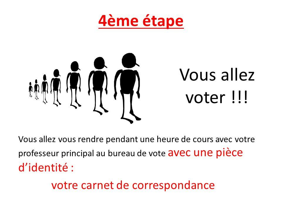 Vous allez voter !!! 4ème étape votre carnet de correspondance