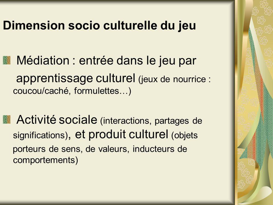 Dimension socio culturelle du jeu Médiation : entrée dans le jeu par