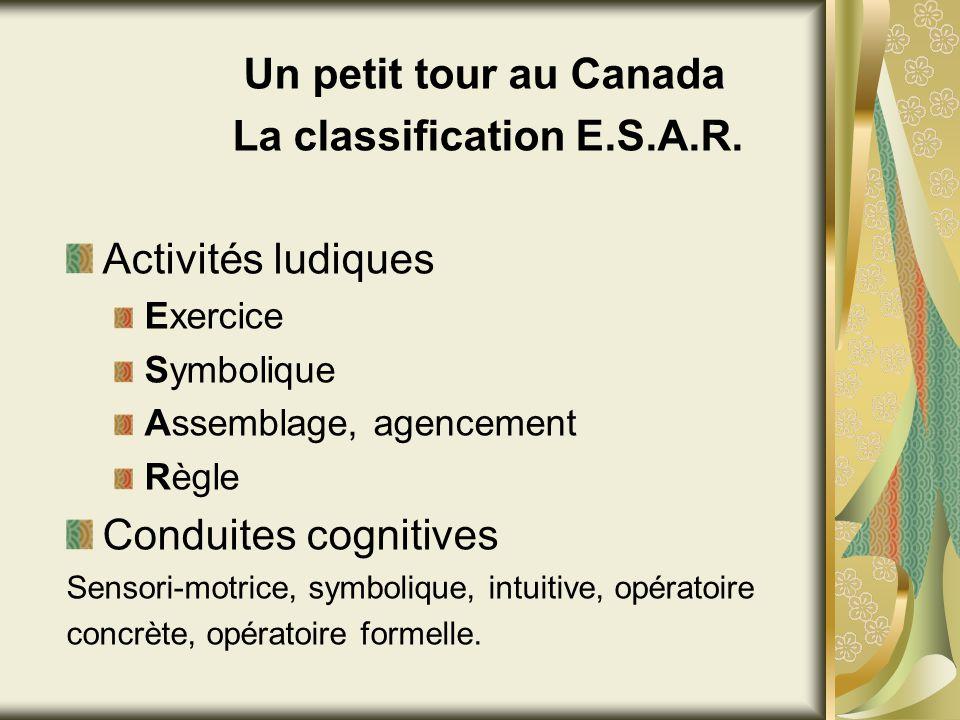 La classification E.S.A.R. Activités ludiques