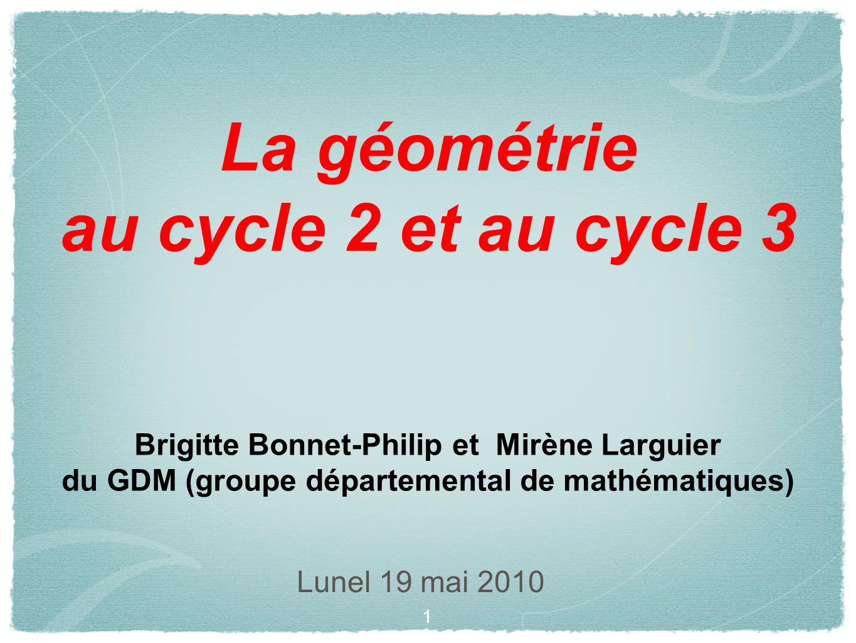 La géométrie au cycle 2 et au cycle 3