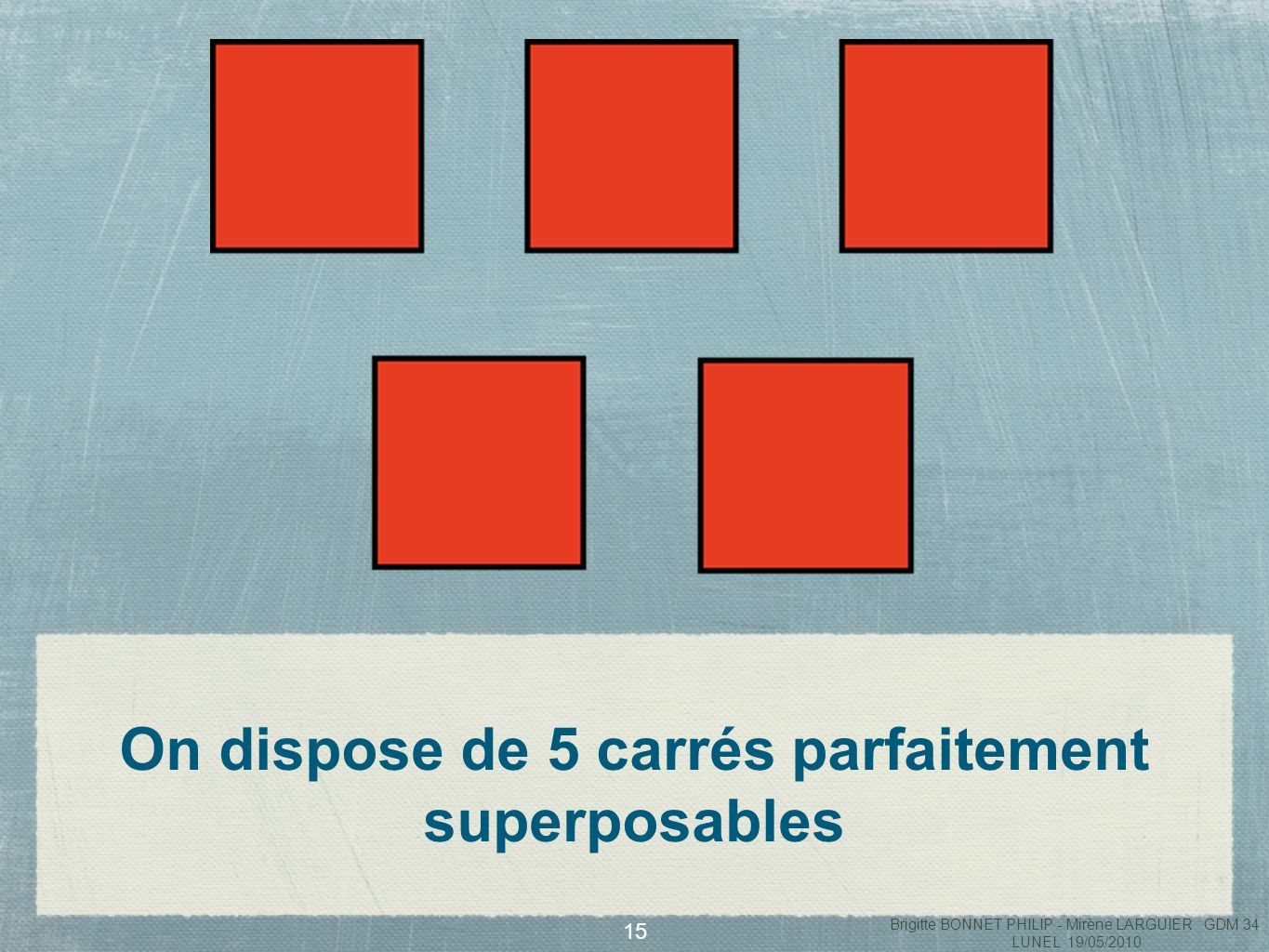 On dispose de 5 carrés parfaitement superposables