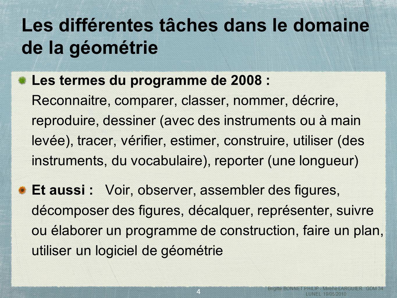 Les différentes tâches dans le domaine de la géométrie