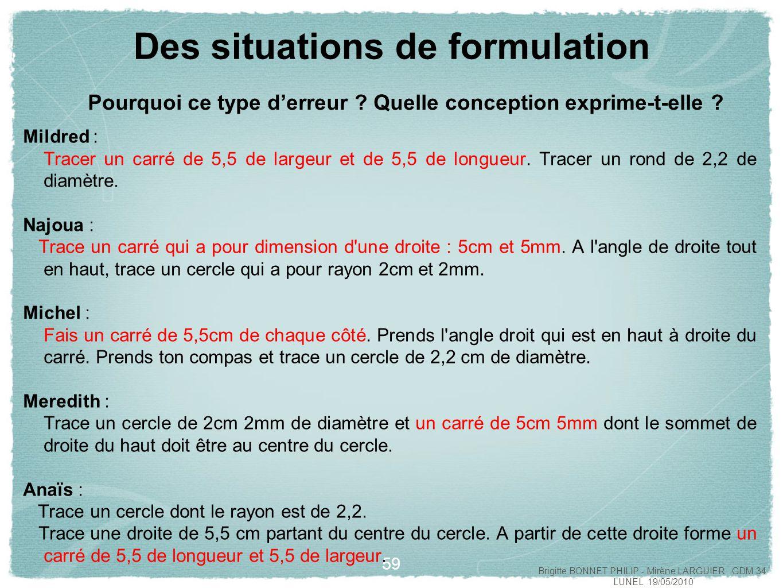 Des situations de formulation