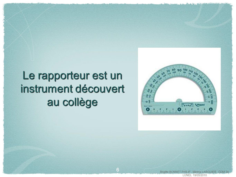 Le rapporteur est un instrument découvert au collège