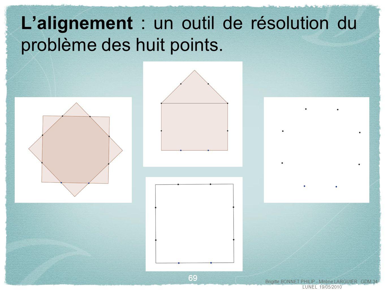 L'alignement : un outil de résolution du problème des huit points.